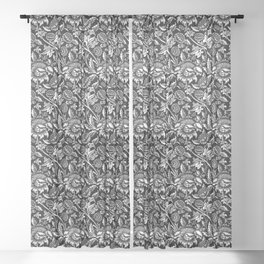 William Morris Sunflowers, Black and White with Gray Sheer Curtain