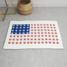 American flag made of paw prints Rug