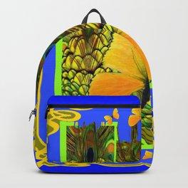 BLUE ART NOUVEAU YELLOW BUTTERFLIES GREEN ART Backpack