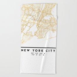 NEW YORK CITY NEW YORK CITY STREET MAP ART Beach Towel