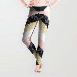 Chevron Pattern 1. Marble and Glitter #decor #buyart Leggings