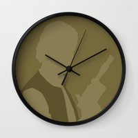 han solo Wall Clocks featuring Han Solo by olive hue designs