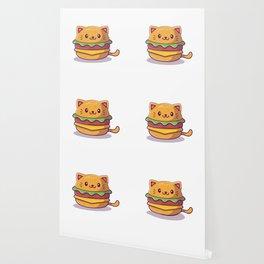 Cute Cat Burger Cartoon Icon Illustration Food Animal Icon Concept Isolated Flat Cartoon Style Wallpaper