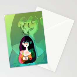 Girl with cup Stationery Cards