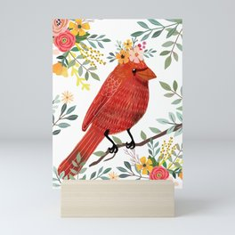 Red Bird with Floral Crown Mini Art Print