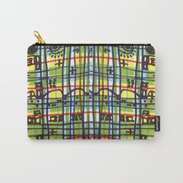 Bizarre Spacy Plaid Carry-All Pouch