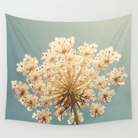 lace Wall Tapestries featuring Queen Anne's Lace by Cassia Beck
