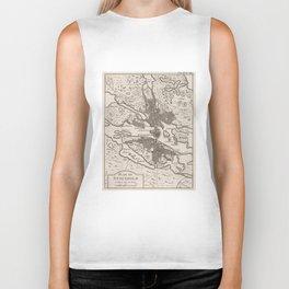 Vintage Map of Stockholm Sweden (1764) Biker Tank
