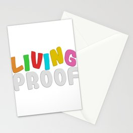 """Proof Tee Saying """"Living Proof"""" T-shirt Design Colorful Clue Validation Confirmation Evidence Court Stationery Cards"""