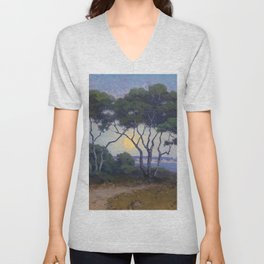 Moonrise El Capitan - Santa Barbara, California Landscape Painting by John Marshall Gamble Unisex V-Neck