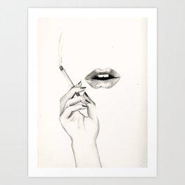 Cigarette Lips Art Print