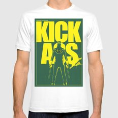 KICK ASS White MEDIUM Mens Fitted Tee
