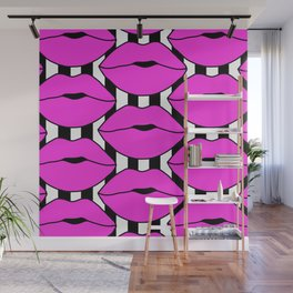 Pink Close up Stripe Lips Wall Mural