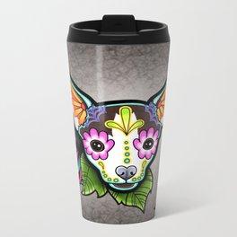 Chihuahua in Moo - Day of the Dead Sugar Skull Dog Metal Travel Mug