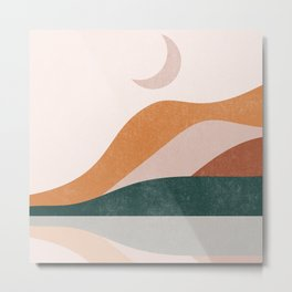Sun and Moon Part 2, Mid CenturyTerracota Mountain Moon Abstrac Landscape Metal Print