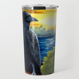 Bird Crow Raven Sunset Travel Mug
