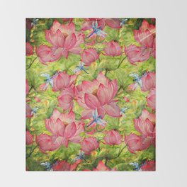 Floral Lotus Flowers Pattern with Dragonfly Throw Blanket