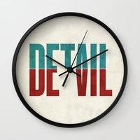positive Wall Clocks featuring Devil in the detail. by David