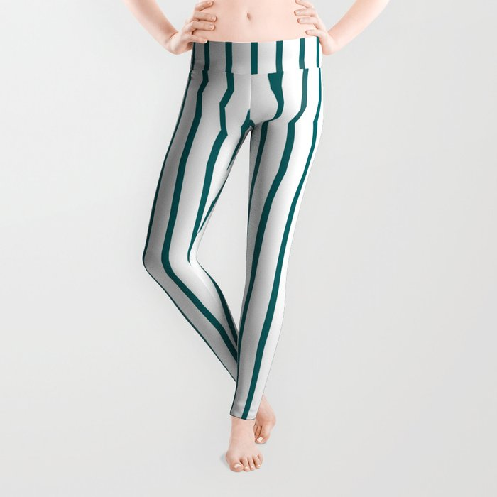 Forget Me Not Blue Pinstripe on White Leggings