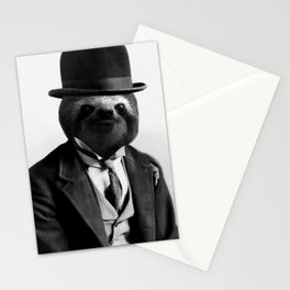Sloth with Bowl Hat Stationery Cards