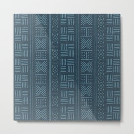 Petrol blue-green lines and dots on textured cloth - striped abstract geometric pattern Metal Print