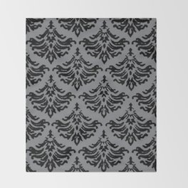 Vintage Damask Brocade Sharkskin Throw Blanket