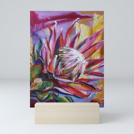 The King Protea - hot pink and yellow ochre Mini Art Print