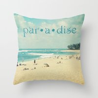 paradise Throw Pillows featuring paradise by Sylvia Cook Photography