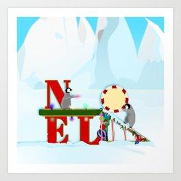 Penquin Chicks: Noel Preparation Art Print