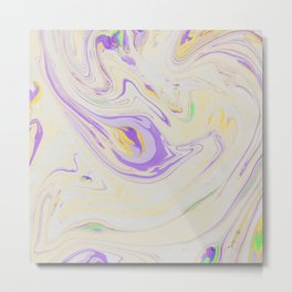 Modern pastel lavender purple yellow marble pattern Metal Print