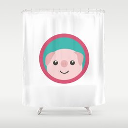 Cute pink pig with purple circle Shower Curtain