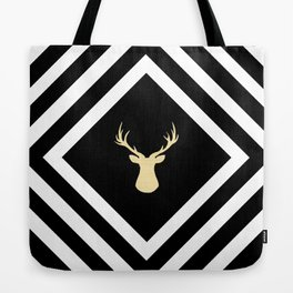 Abstract geometric pattern - Deer - black, beige and white. Tote Bag