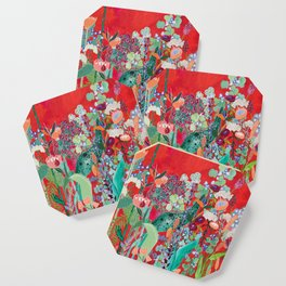 Floral Jungle on Red with Proteas, Eucalyptus and Birds of Paradise Coaster
