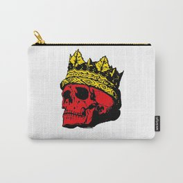 A Skull colored red with a Gold Crown Carry-All Pouch