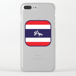 Thailand Flag, Roosters Sparring Clear iPhone Case