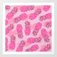Pink Pineapples Art Print