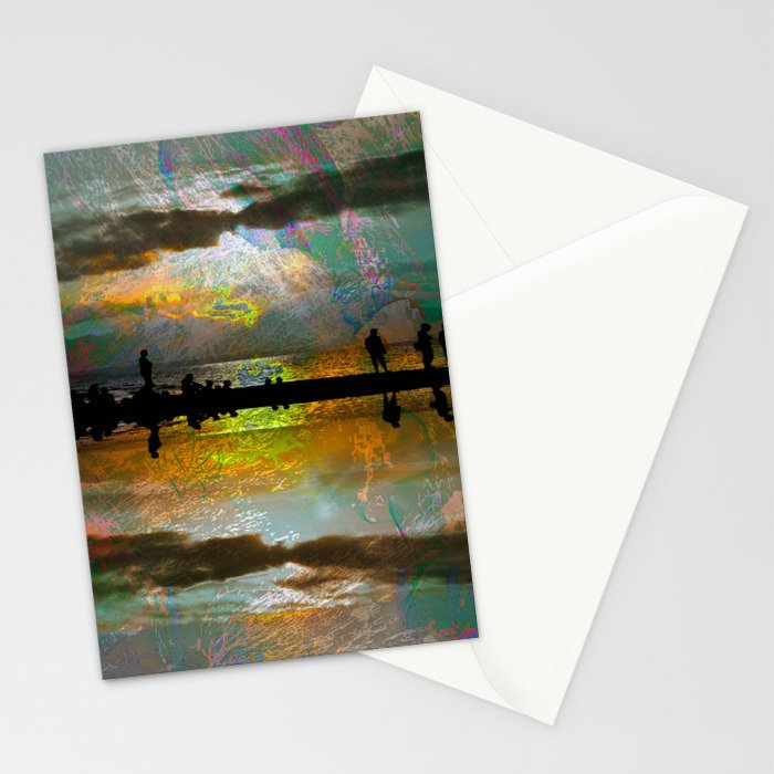 Abstract-art sunset Stationery Cards