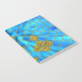 Blue Aqua Turquoise And Gold Glitter Mermaid Scales -Beautiful Mermaidscales Pattern Notebook