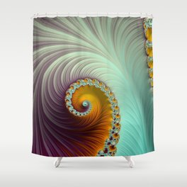 Winter Sunset - Fractal Art  Shower Curtain