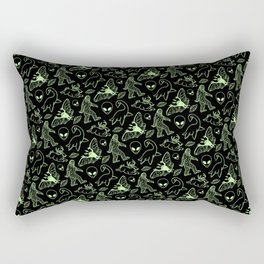 Cryptid Pattern: Green Lines Rectangular Pillow