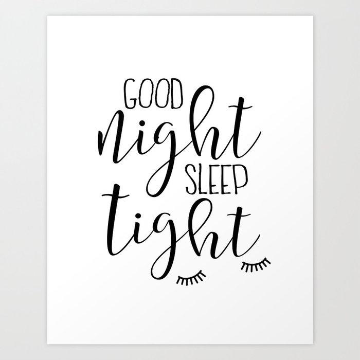 PRINTABLE Art, Good Night Sleep Tight,Kids Wall Art,Kids Bedroom  Decor,Nursery Decor,Nursery Girls,C Art Print by alextypography