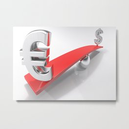 Euro and Dollar symbols at opposite sides of a balanced plane Metal Print