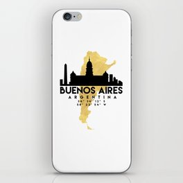 BUENOS AIRES ARGENTINA SILHOUETTE SKYLINE MAP ART iPhone Skin