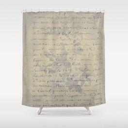 Aged Floral Letter Shower Curtain