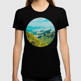 Mid Century Modern Round Circle Photo Graphic Design Vintage Pastel Green Mountain Valley T-shirt