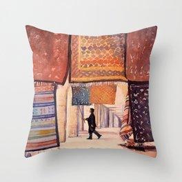 Carpet salesman in the Saharan desert town of Douz, Tunisia.  Colorful artwork Tunisia carpet Throw Pillow