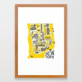 Manhattan New York Map Framed Art Print