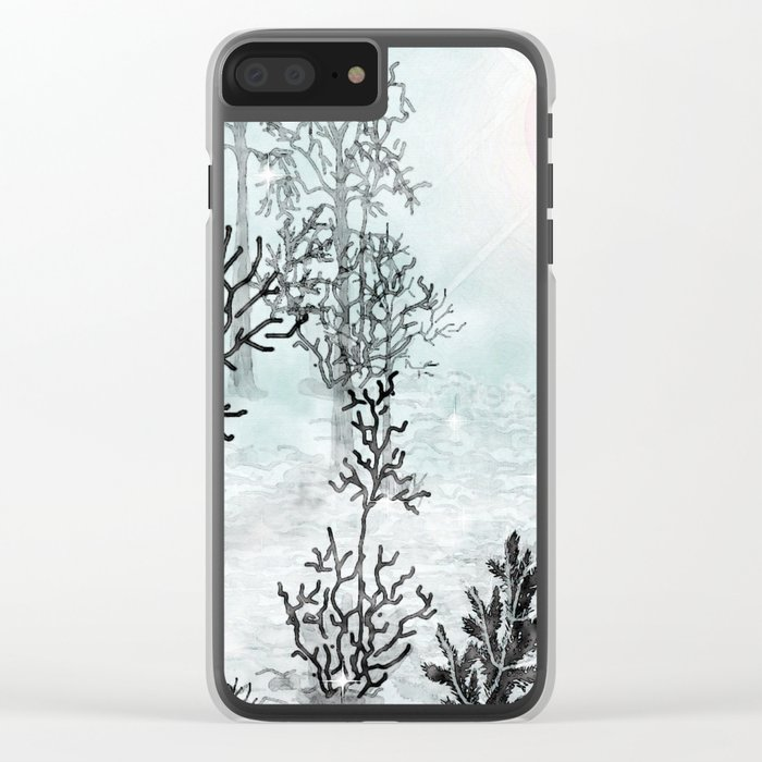 Winter in the woods . Clear iPhone Case