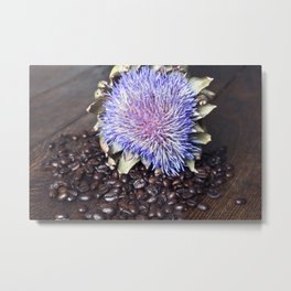 Coffee Beans with Blue Artichoke Flower Metal Print