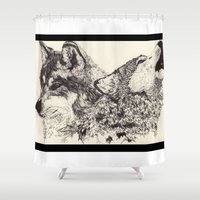 wolves Shower Curtains featuring Wolves by Maria Gabriela Arevalo Reggeti